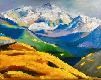 Original Oil Painting of Mountain Landscape