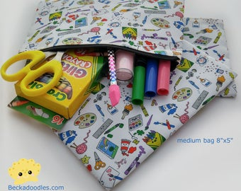 Kawaii Craft Supplies Doodles Zipper Pouch