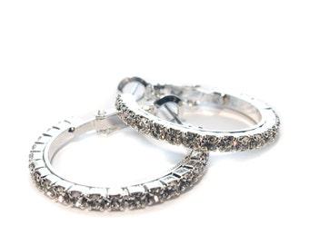 Diane Katzman Crystal Hoop Earrings