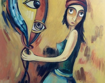 А clairvoyant and a mirror. Original one-of-a-kind oil painting . Ready to ship.