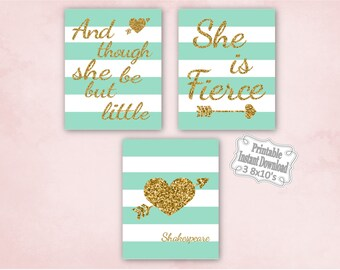 Printable Mint Gold Tribal Hearts Baby Nursery Wall Art Decor Though She Be But Little Girl Kids ~ DIY Instant Download ~ 3 8x10 Prints