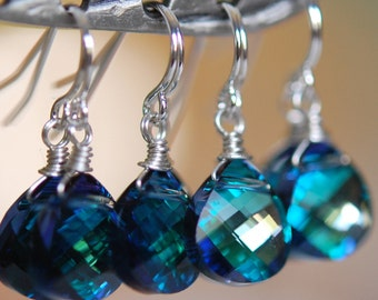 Set of 4 Pairs, Bridesmaid Earrings, Aqua Peacock, Swarovski Crystal, Wire Wrapped, Sterling Silver, Something Blue