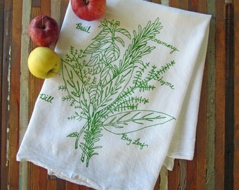 Tea Towel - Screen Printed Flour Sack Towel - Botanical - Kitchen Towel - Handmade - Herb Bunch - Flour Sack - Dish Towel - Mothers Day Gift