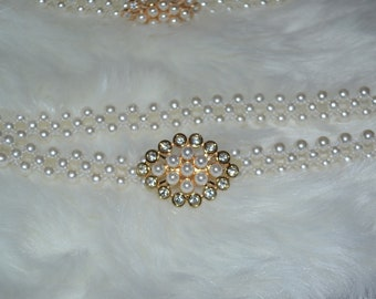White pearl belt, wedding belt, pearl belt, white Wedding belt, white beaded belt , stretch belt