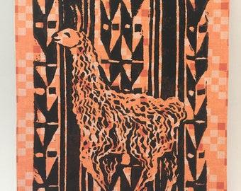 Happy Llama--Original Linoleum Block Print--Benefit HOOP Peru