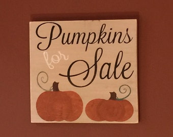 Fall decor -pumpkin sign - Autumn decor - thanksgiving - fall - signs - wooden sign - hand painted - pumpkin - halloween -