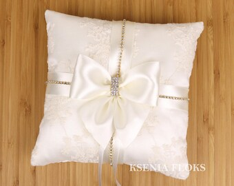 Ivory and Gold Ring Pillow, Wedding Ring Bearer Pillow, Lace Ring Pillow, Wedding Pillow, Ring Pillow, Ivory Wedding, Ivory Lace Pillow