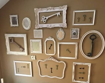 Gallery Wall of Antiqued Shabby Chic Frames, 10 Antique Frames Gallery Wall - Local Delivery (Monmouth/Ocean Cnty) - SHIPPING NOT INCLUDED