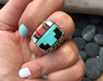 Men's Vintage Cast Ring Inlayed  With Coral, Turquoise, Black Onyx, and Mother Of Pearl   Cast Jewelry   Zuni Rings   Nugget Rings Gifts