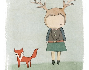 Woodland Animal Art Print of a Deer and Fox Suitable for a Girls Bedroom