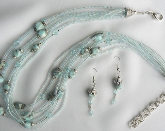 Larimar and Swarovski crystal multi strand necklace and earrings