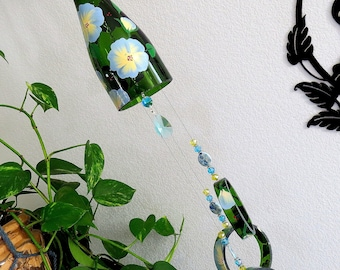 Glass Wind Chime, Recycled Green Champagne bottle wind chime, Lilac and Yellow Flowers, Yard art, Patio decor, House warming gift