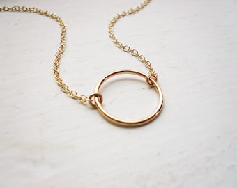 Small Gold Circle Necklace in Gold Filled - Sweet and Simple Gold Circle Infinity Necklace. Open Circle Necklace. Karma Necklace. Gift Her.
