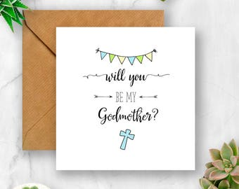 Will You Be My Godmother? Card, Card for Godmother, Ask Godmother, Godmother Card, Christening Card, Baptism Card, Card for Christening