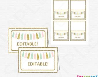 Editable Food Labels Pink Mint Gold Baby Shower Tent Cards Place Cards Food Labels Pink Mint Gold Tassels Instant Download Printable TASPMG