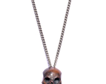 Men's Jewelry - Torched Skull - Handmade steampunk style necklace for men and women
