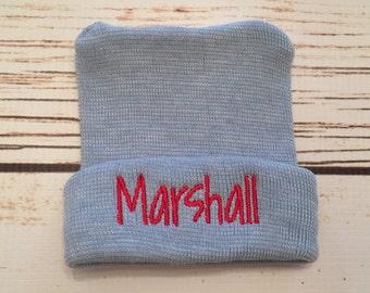 Blue newborn monogrammed hospital hat