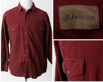 Vintage Men's Shirt Flannel St John's Bay Johns Chamois - 90s Retro Extra Large XL