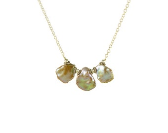 Sterling Silver and Champagne Keishi Pearl Necklace