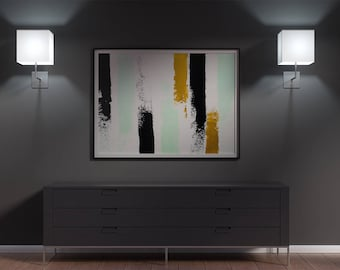 Abstract fine art print in mint green, black and gold