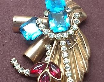 Art Deco Copper and Gold Tone Brooch Pin with Aqua & Red Rhinestones Fantasy Jewelry #C132