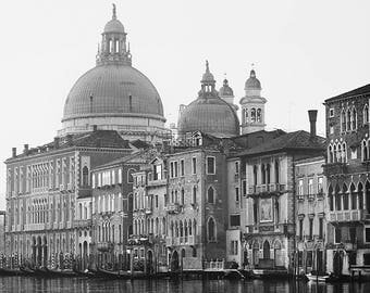 """Venice Wall Art, Venice Italy Print, Black and White Photography Print, Grand Canal, Contemporary Travel Photography """"Very Venetian"""""""