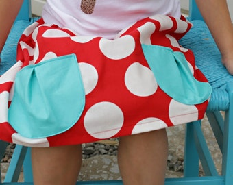 Red and White Polka Dot Skirt…Pockets…Infant, Toddler, Girl