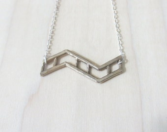 Two Tone Small Zig Zag Necklace- Bronze and Silver- Handmade Chevron Necklace- Silver Chain- Lattice-Ladder-Geometric Necklace- Gift for her