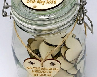 Personalised Engagement Wish Jar - Engagement Guest Book - 100 Blank Hearts or 50 Blank Hearts