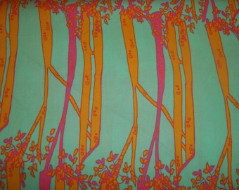 Beautiful Print By Tina Given Opal Owl on turquiose with pink and yellow trees for Free Spirit 1/2  yard licensed print