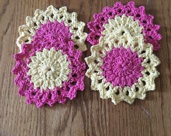 Handmade crochet flower coasters set if 4