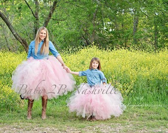 Mommy and Me Wedding Dress Tutu Skirt Flower Girl Skirt Tulle Skirt Tutu Skirt Baby Skirt Toddler Skirt  Pink Tutu Grey Skirt Girls Skirt