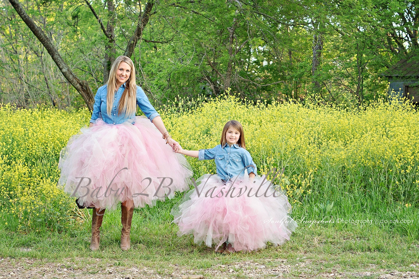Mommy and Me Wedding Dress Tutu Skirt Flower Girl Skirt Tulle