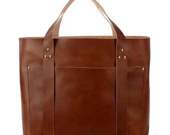 Retro Deer Hamburg Patty XL Weekender leather bag, light brown