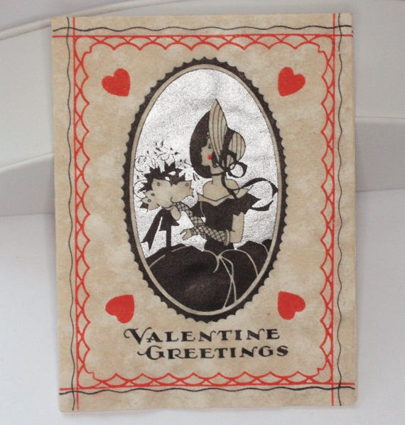 Art Deco Valentines Day Card Woman in Silhouette Signed 1939 Scrapbooking