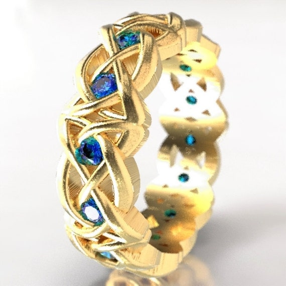 Gold Celtic Cut-Through Dara Style Knot Design with Blue Sapphires in 10K 14K 18K Gold, Palladium or Platinum, Made in Your Size Cr-1064