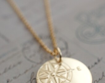Gold Filled Compass Necklace - Compass Rose Pendant in 14K GF - Custom Hand Drawn Design by EWD - Inspirational Gift