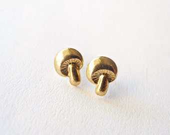 Mushroom Earrings, Autumn Jewelry, Tiny Stud Earrings, Woodland Studs, Golden Brass Mushroom Earrings, Sterling Silver Hypoallergenic Studs