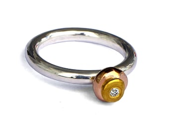 TRI COLOR Gold Ring, Sterling Silver and Gold Engagement Ring with Diamond, Tricolor Ring, Silver and Gold Ring, Alternative Engagement Ring