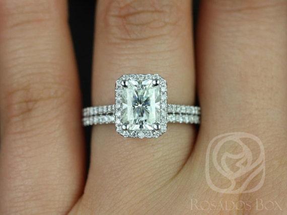 Rosados Box Brianna 8x6mm 14kt White Gold Radiant F1+ Moissanite and Diamonds Halo Wedding Set