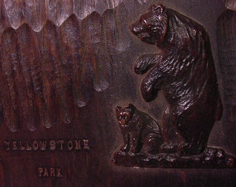 Wooden Souvenir Photo Binder Yellowstone Park Carved Bear Cover