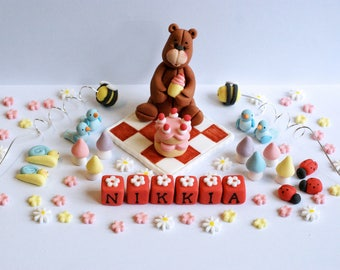 Handmade Edible Sugar Teddy Bear Picnic Personalised Birthday Cake Topper Decoration