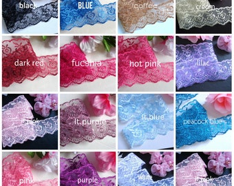 Lace Fabric Trim Embroidered 1 1/2 inch wide selling by the yard=select color