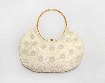 Beaded Bag. La Regale Handbag. Hand Beaded Purse. White Beaded Bag. Holiday Bag. Vintage Purse. Evening Bag. Ivory Beaded Bag. Floral Purse.
