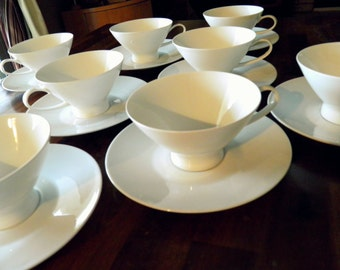 """15% Off--8 Mid Century Raymond Loewy """"Continental Classic Modern White"""" Porcelain Cups & Saucers--Produced 1956-1988--Rosenthal Germany"""