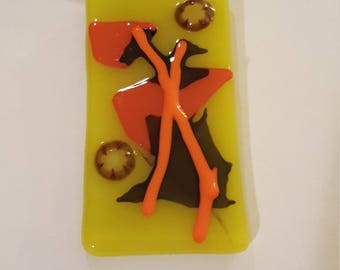 Fused glass pendant necklace - yellow/orange