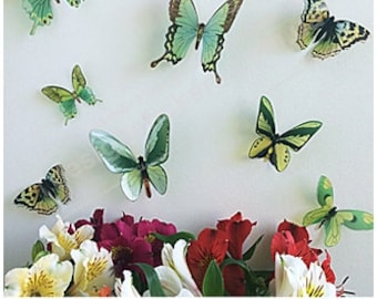 3D Butterflies, 3D Wall Butterflies, Butterfly Wall Art, 3D Butterfly, Green 3D Butterflies, Yellow 3D Butterflies, 3D Butterfly Wall Decal