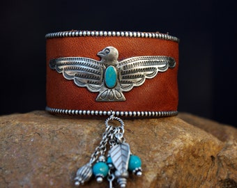 20% OFF SALE Sterling & Turquoise Thunderbird Leather Cuff Bracelet