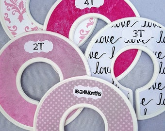 Pink, Love, Floral, Fully Assembled Closet Dividers Rings, Custom Closet Divider, Kids Closet, Baby Shower Gift Set, Nursery, New Baby