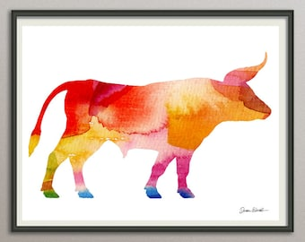 ox wall art print wall decor poster watercolor painting, animals wall art print poster, nursery wall art art print poster